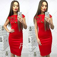 Красивое красное платье миди