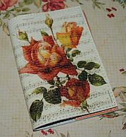 Обложка на паспорт -Ветка розы с нотами -