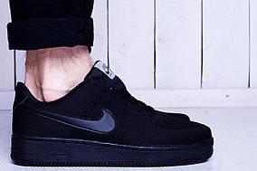 Кроссовки мужские Nike air force flyknit черные реплика
