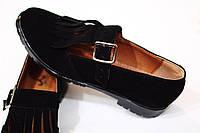 Женские туфли-лоферы от TroisRois из натуральной турецкой кожи с бахромой Черный