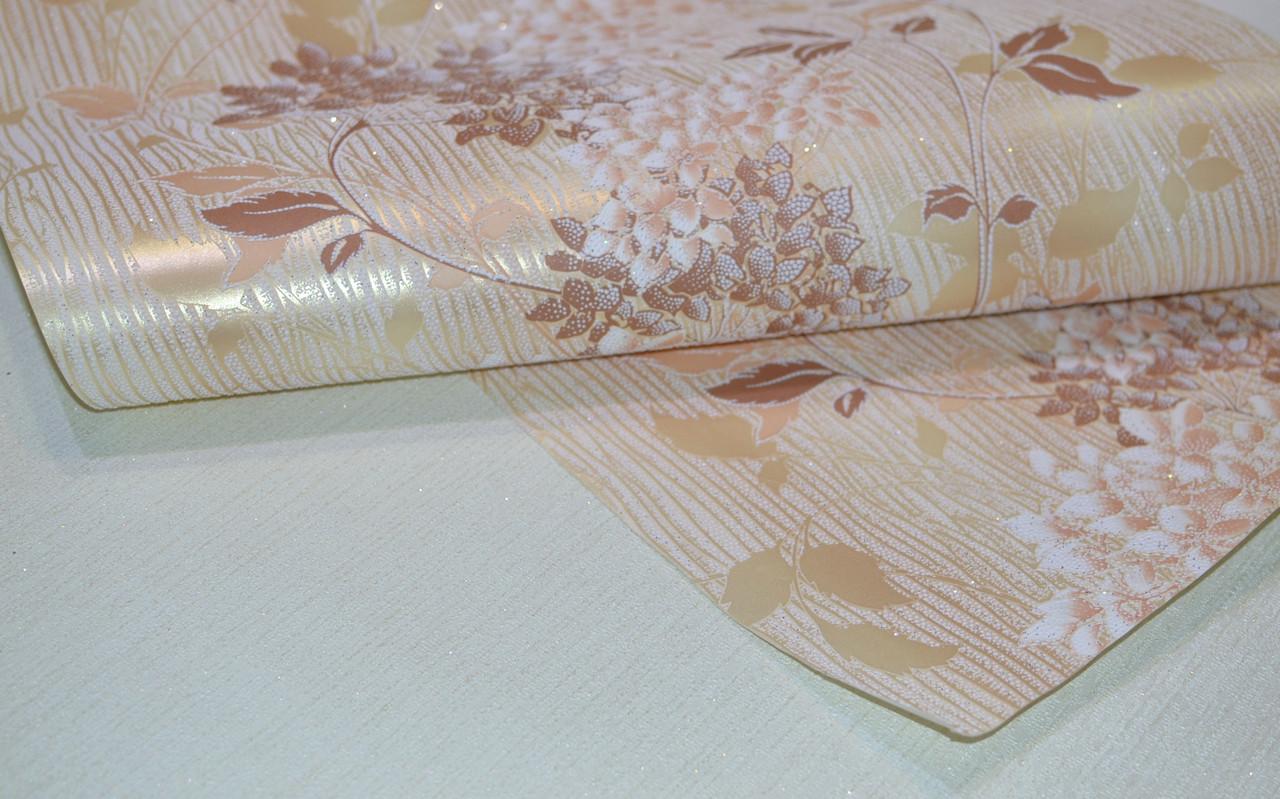 Обои на стену, осенний рисунок, цветы, акриловые на бумажной основе, B77,4 Юлия 7066-05, 0,53*10м