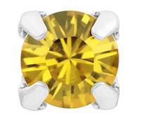 Стразы Swarovski в серебряных цапах rodium 17704 Light Topaz