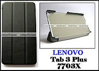 Черный чехол на Lenovo Tab 3 plus 7703X, чехол книжка TFC эко кожаный