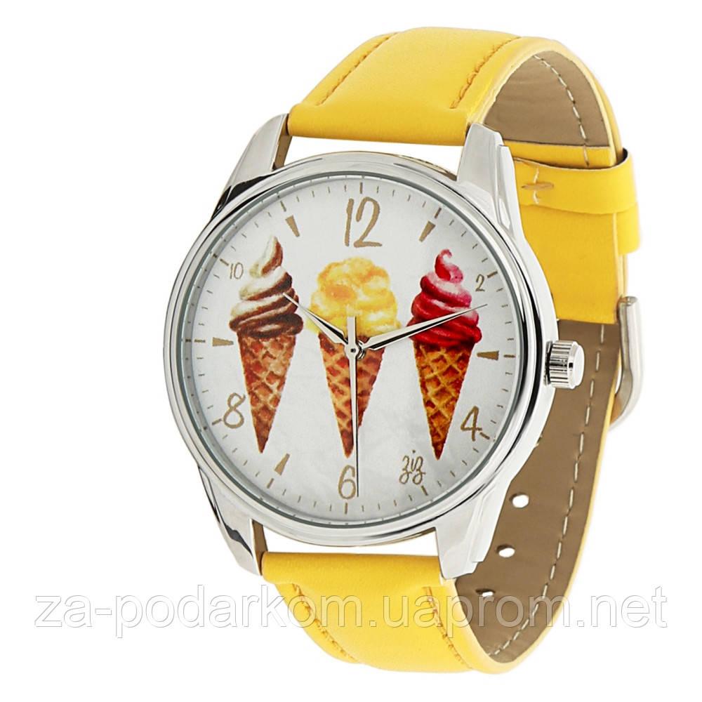 Час женские наручные Мороженое желтые