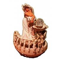 Фонтан декоративный Дама превосходная у фонтанчика шарик подсветка настольный домашний комнатный мини с насосо