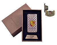 """Спиральная USB зажигалка """"Porsche"""" №4787-4, стильный и практичный аксессуар курильщика, включение встряхивание"""