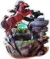 Фонтан мини Конь и жернова подсветкой, вращающимся шаром домашний комнатный настольный  6809 19=15=24