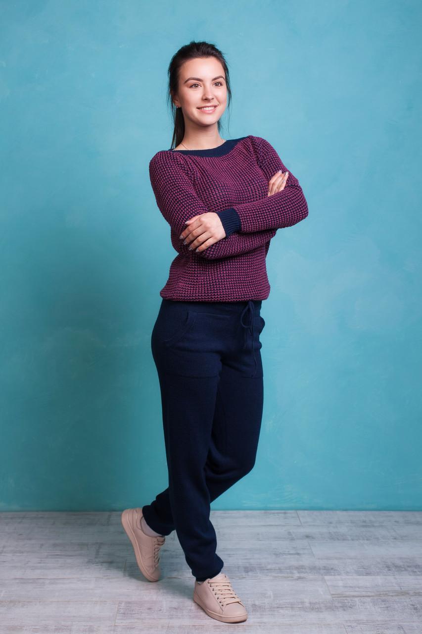 Молодежный вязаный двухцветный костюм 44, 46 размер Фиолетовый