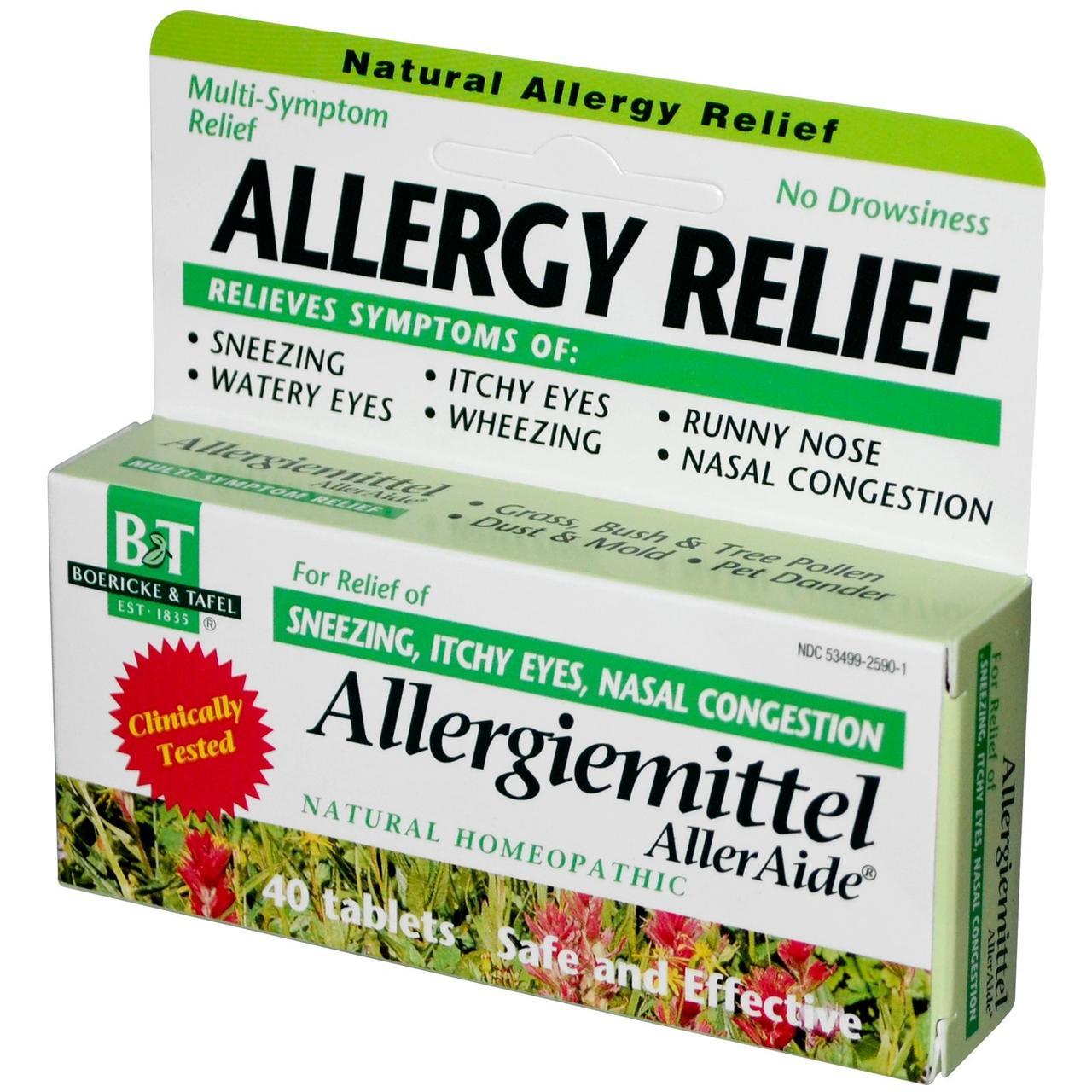 Boericke & Tafel, Протиалергічний засіб, Allergiemittel AllerAide, 40 пігулок