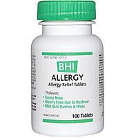 MediNatura, BHI, средство от аллергии, 100 таблеток
