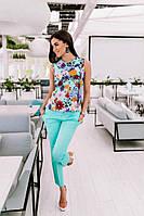 Женский летний брючный костюм в расцветках Н393