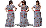 Женское  длинное штапельное полосатое платье больших размеров .  Арт-8053/4