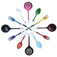 """Настенные часы на кухню """"Столовые Приборы микс"""" (37х37 см) [Металл]"""