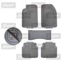Коврики зима/лето Grey Elegant 215017  5шт на заклёпках резина/ текстиль