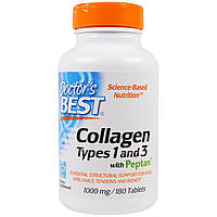 Doctors Best, Collagen, Types 1 and 3 with Peptan, 1,000 mg, 180 Tablets