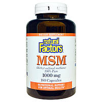 Natural Factors, МСМ, (Метил-Сульфонил-Метан), 1000 мг, 180 капсул