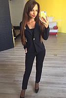 Стильный женский пиджак короткий с брошкой,цвет черный