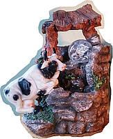 Фонтан домашний мини  Корова  с подсветкой, с шариком  и насосом  домашний комнатный настольный  297-9 18=14=24