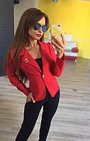 Стильный женский пиджак короткий с брошкой,цвет красный