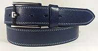 Джинсовый кожаный ремень с двойной строчкой 125 см. - 4 см.