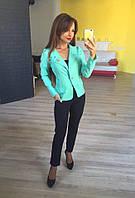 Стильный женский пиджак короткий с брошкой,цвет мята