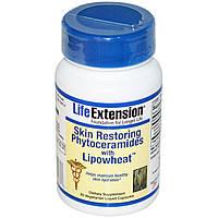 Life Extension, Восстанавливающие кожу фитокерамиды с липосомами из пшеницы, 30жидких вегетарианских капсул
