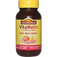 Nature Made, VitaMelts, витаминный комплекс для волос, кожи и ногтей, со вкусом клубничного лимонада, 100 таблеток