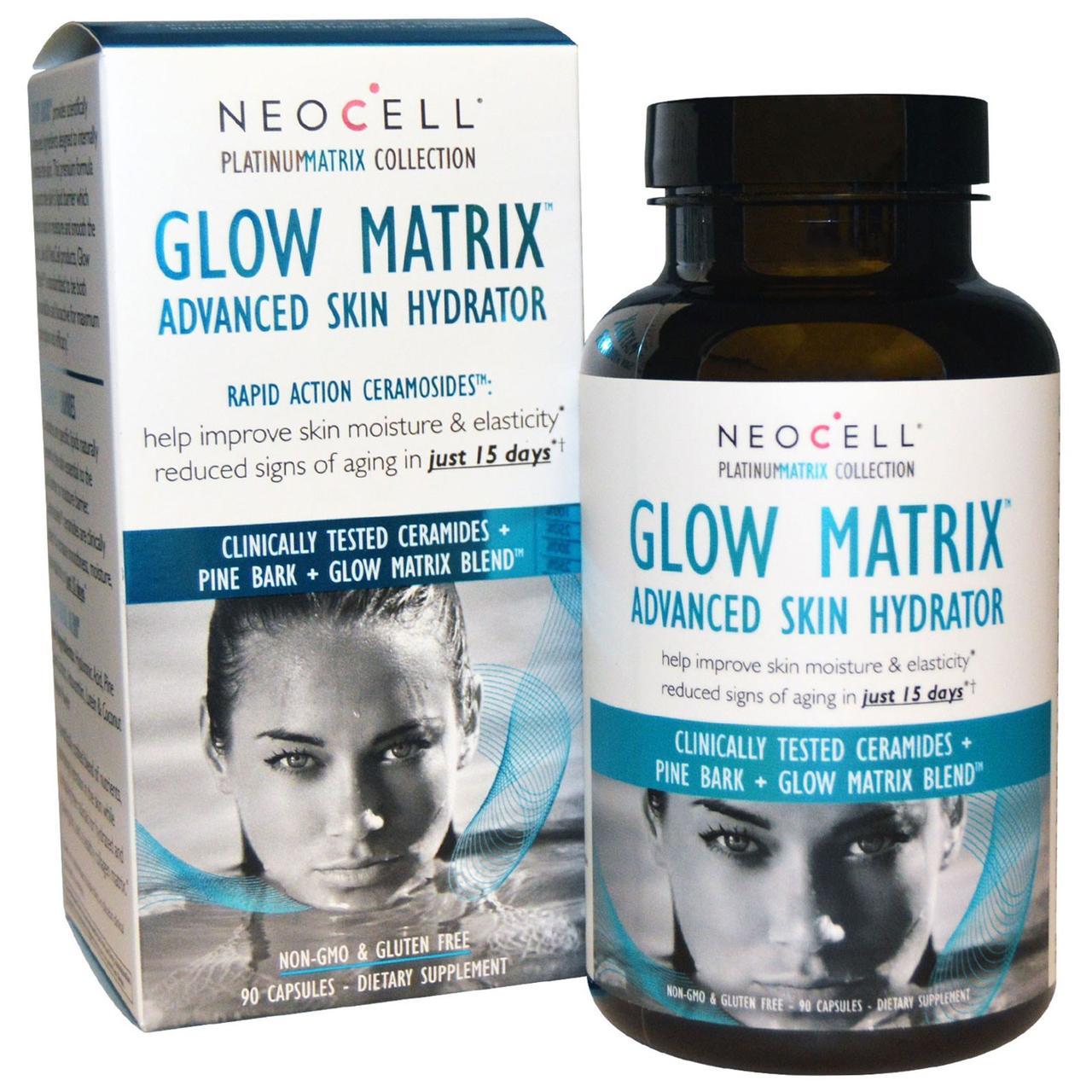 Neocell, Улучшенный увлажнитель кожи Glow Matrix, 90 капсул - Интернет-магазин для здоровой жизни в Киеве
