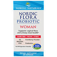 Nordic Naturals, Пробиотик Nordic Flora Woman, 60 капсул