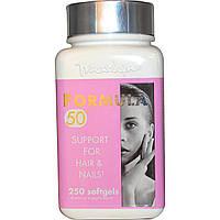 Naturally Vitamins, Пищевая добавка Marlyn, Формула 50, укрепление волос и ногтей, 250 мягких капсул