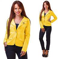 Стильный женский пиджак короткий с брошкой,цвет желтый
