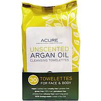 Acure Organics, Очищающие влажные салфетки для лица и тела, без запаха, 30 влажных салфеток