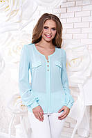 Креп-шифоновая голубая блуза  Шик Arizzo 48 размер