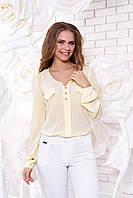 Креп-шифоновая желтая блуза  Шик Arizzo 48 размер