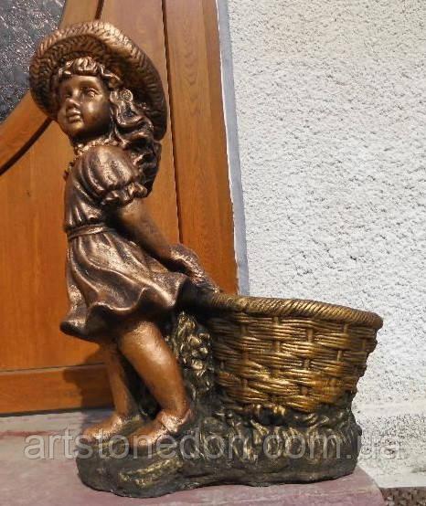 Статуя Девочка с цветочным горшком 60 см