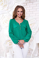 Креп-шифоновая зеленая блуза  Шик Arizzo 48 размер