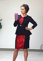 Комплект платье-силуэт с гипюровой вставкой + пиджак-баска 375 батал (ФР)