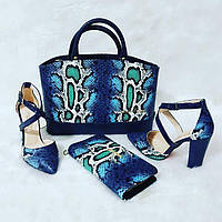 Набор  Chloe сумка,туфли, кошелек синий,бирюзовый, белый рептилия