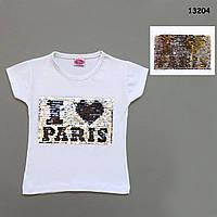Футболка I love Paris для девочки (двусторонние пайетки). 86, 98 см