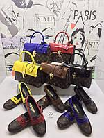 Женский набор сумка, кошелек и балетки (слипоны) коричневые в Цветах 36-40 р-р Турция