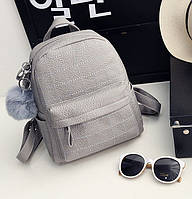 Рюкзак женский со строчкой и меховым помпоном (серый), фото 1