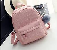 Рюкзак женский кожаный со строчкой и меховым помпоном (розовый)