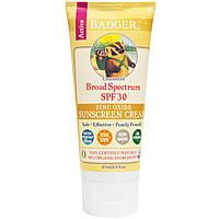 Badger Company, Солнцезащитный крем с оксидом цинка, фактор защиты SPF 30, без запаха, 2,9 жидк. унц. (87 мл)