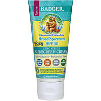 Badger Company, Детский солнцезащитный крем, широкий спектр SPF 30, ромашка и календула, 2.9 жидких унций (87 мл)