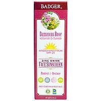 Badger Company, Солнцезащитный крем для лица с оксидом цинка, SPF 25, Дамаскская Роза, 1,6 жидк. унц.(47 мл)