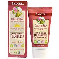Badger Company, Солнцезащитный крем для лица с оксидом цинка, 25-й солнцезащитный фактор, дамасская роза, 1,6 жидких унций (47 мл)