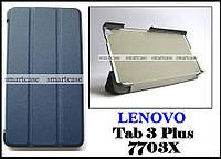 Синий чехол на Lenovo Tab 3 plus 7703X, чехол книжка TFC эко кожаный