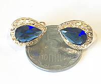 Серьги Бриллиант синие , английский замок