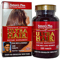 Natures Plus, Ультра Волосы, устойчивое высвобождение для мужчин и женщин, 120 таблеток