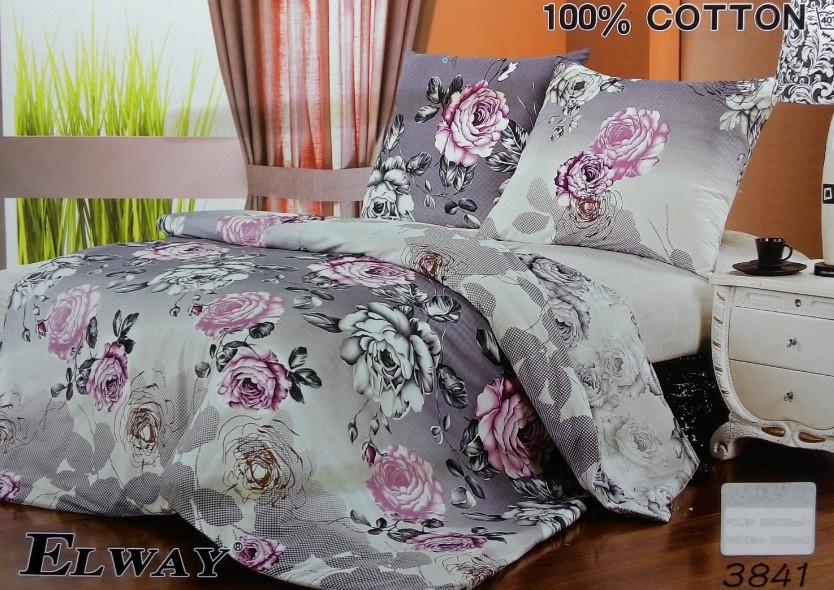 Сатиновое постельное белье семейное ELWAY 3841